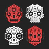 Abstract Monster Skulls Sign Designs. Cool Dead Head Vector Illustration. Unusual Geometric Vector C poster