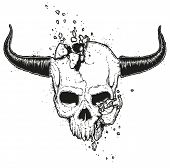 Vector Hand Drawn Illustration Of A Crushed Skull. Monster Jawless Human Skull With Horns. Broken De poster