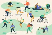 Active Young People. Healthy Lifestyle. Roller Skates, Running, Bicycle, Run, Walk, Yoga Design Elem poster