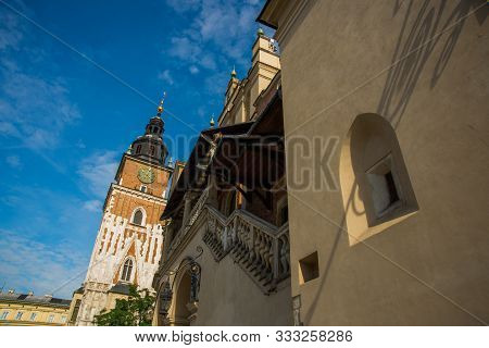 poster of Krakow, Poland: Town Hall Tower At Main Market Square In The Old Town.