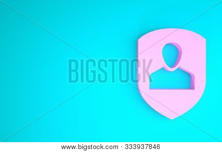 poster of Pink User Protection Icon Isolated On Blue Background. Secure User Login, Password Protected, Person