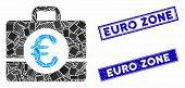 Mosaic Euro Accounting Pictogram And Rectangular Seal Stamps. Flat Vector Euro Accounting Mosaic Pic poster