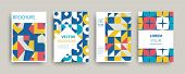 Modern Abstract Geometric Covers Templates Set. Retro Minimal Colorful Brochure, Flyer, Poster Backg poster
