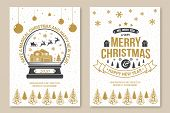 Set Of Merry Christmas And 2020 Happy New Year Poster, Flyer, Greeting Cards. Set Quotes With Snowfl poster
