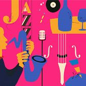 Jazz Music Festival Poster With Violoncello, Saxophone And Microphone Flat Vector Illustration Desig poster
