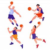 Basketball Players Set. The Basketball Team. Peoples In Dynamic Pose. Cartoon Flat Vector Illustrati poster