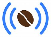 Coffee Wifi Spot Raster Icon. Flat Coffee Wifi Spot Pictogram Is Isolated On A White Background. poster