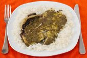Fish With Sauce Pesto And Boiled Rice