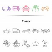 Carry Line Icon Set. Semi Truck, Taxi, Pickup, City. Transport Concept. Can Be Used For Topics Like  poster