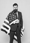 The Flag Is His Pride. Bearded Man Holding American Flag On Independence Day. Patriotic Businessman  poster