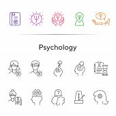 Psychology Line Icon Set. Man, Woman, Head, Gear. Mental Science Concept. Can Be Used For Topics Lik poster