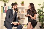Expert Meeting. Sensual Woman And Bearded Man Meeting For Teacup During Working Break. Company Manag poster