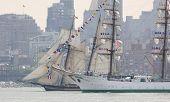 HOBOKEN, NJ - MAY 23: The tall ship ARC Gloria (Columbia) sails on the Hudson River past Manhattan during the Parade of Sail on May 23, 2012 in Hoboken, NJ. The parade is the start of Fleet Week.