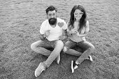 Spreading Love. Romantic Couple Having Photobooth Fun On Green Grass. Sensual Girlfriend And Boyfrie poster
