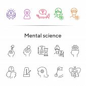 Mental Science Line Icon Set. Patient, Psychologist, Brain Work. Psychology Concept. Can Be Used For poster