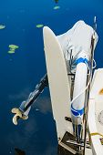 Propeller Of Boat On Sea Coast. Nautical Vessel Sailing Concept. poster