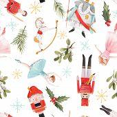 Watercolor Vector Hand Drawn Winter Christmas Nutcracker Fairy Tale Ballet Seamless Pattern poster
