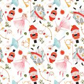 Watercolor Vector Hand Drawn Winter Christmas Nutcracker Fairy Tale Ballet Seamless Pattern poster