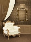 image of pompous  - Armchair with frame in royal apartment interior - JPG