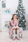 Cute And Gorgeous. Happy Christmas Girl. Little Girl With Xmas Look. Small Girl At Christmas Tree. B poster