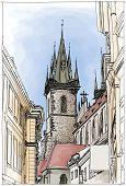 Prague, Czech Republic. Watercolor paint. Vector. Eps10