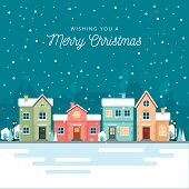 Christmas Winter City Street With Small Houses And Trees On Background. Its Snowing. poster