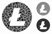 Litecoin Coin Mosaic Of Inequal Items In Variable Sizes And Color Tinges, Based On Litecoin Coin Ico poster