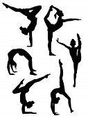 Girls Gymnasts Silhouettes