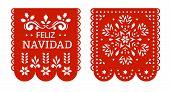 Feliz Navidad Papel Picado Banners, Mexican Christmas Decorations. poster
