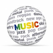 foto of reggae  - 3d Music Word Sphere on white background - JPG