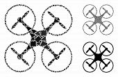 Quadcopter Composition Of Humpy Pieces In Different Sizes And Shades, Based On Quadcopter Icon. Vect poster