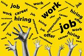 Group Hands Trying To Reach Job Offers Over A Yellow Background - Looking For Work - Job Opportunity poster