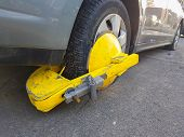 Car Wheel Blocked By Wheel Lock/clamp In Montreal, Canada poster