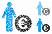 Euro Investor Mosaic Of Abrupt Parts In Various Sizes And Color Tints, Based On Euro Investor Icon.  poster