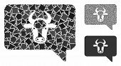 Cow Message Composition Of Rugged Items In Various Sizes And Color Hues, Based On Cow Message Icon.  poster