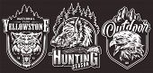 Monochrome Outdoor Adventure Vintage Labels With Cruel Wolf Wild Boar Eagle Heads Inscriptions Shotg poster