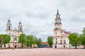 The Town Hall Of Kaunas And Jesuit Church Of St Francis Xavier On The Town Hall Square. Lithuania poster