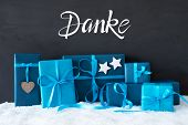 Turquois Gift, Snow, Danke Means Thank You poster