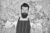Facial Hair. Bearded Barber Shaving. Barber Tools. Barber In Apron Hairdresser Equipment Blade And S poster