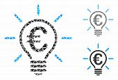 Euro Idea Bulb Mosaic Of Joggly Elements In Variable Sizes And Shades, Based On Euro Idea Bulb Icon. poster