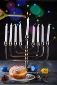 Jewish Holiday Hanukkah Background. A Traditional Dish Is Sweet Donuts. Hanukkah Table Setting A Can poster