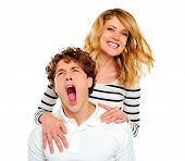 Couple, Girl Smiling Boy Yawning