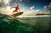 Surfer rides the ocean wave in tropics. poster
