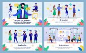 Vector Illustration Online Education, Graduation. Set Student Lecture. Administration Institution So poster