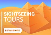 Sightseeing Pyramid Tours Concept Banner. Cartoon Illustration Of Sightseeing Pyramid Tours Vector C poster