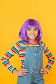 Cute Is Her Mission. Happy Child With Cute Smile Yellow Background. Cute Little Girl Wear Violet Hai poster