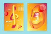 Bright Fluid Gradient. Orange Trendy Abstract Banner. Red Music Design. Vibrant Memphis Illustration poster