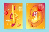 Bright Fluid Gradient. Orange Trendy Abstract Banner. Red Music Design. Vibrant Memphis Illustration poster