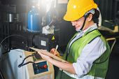 Female Note Writing Clipboard Engineer Factory Inspection With Robot Ai  Machine Assist Production E poster