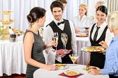 stock photo of buffet catering  - Catering service at business meeting offer food refreshments to woman - JPG